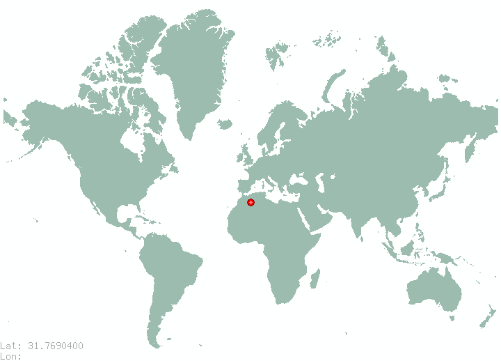 Jerusalem in world map